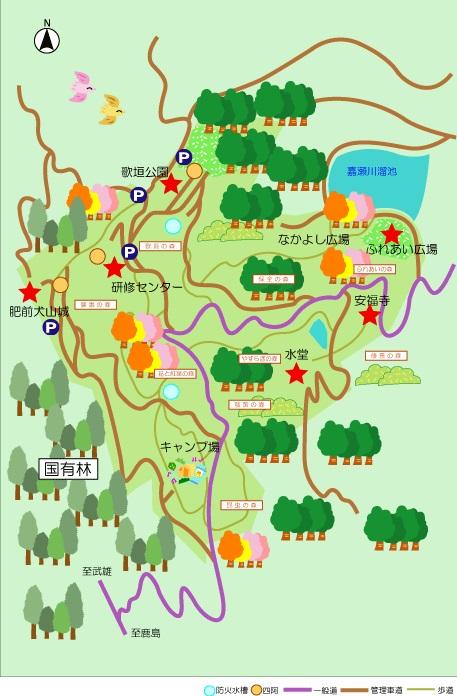 기시마야마 생활 환경 보전 숲 이미지도