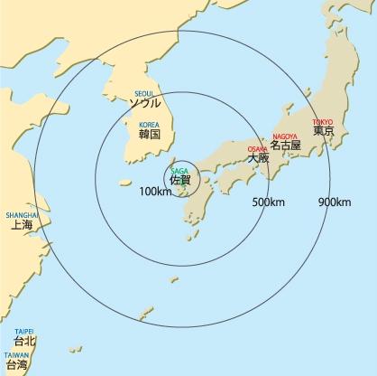 佐賀県地図(広域)