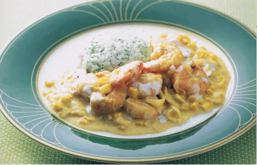 Curry creamed prawns image