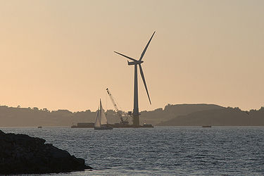 Floating form ocean wind-generated electricity image